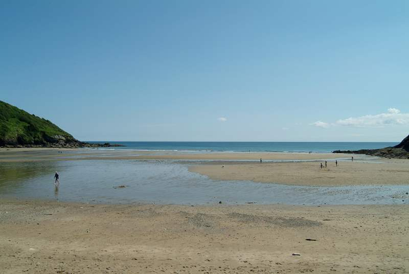 Beautiful Caerhays (Porthluney) beach is only seven miles from Treverbyn Farm, on the Roseland peninsula.