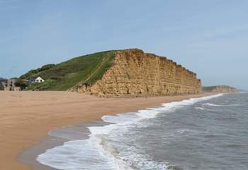 The spectacular Jurassic Coast at West Bay, scene for filming of Broadchurch.