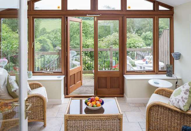The garden-room is a wonderful place to relax and watch the wildlife in the garden and on the hillside beyond.