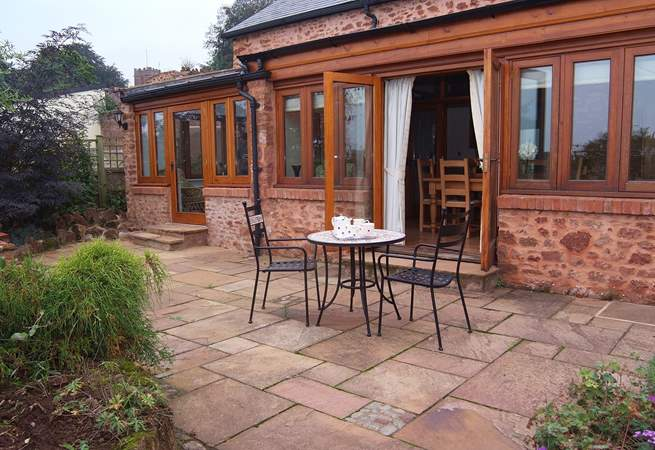 The courtyard garden is sheltered and fully enclosed.