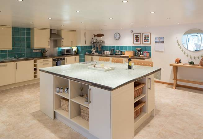 The large breakfast-bar in the kitchen.