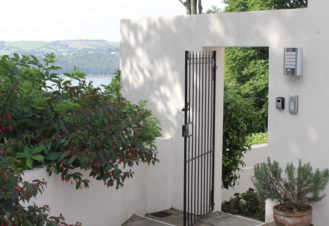 The secure gate into Heron's Rest.