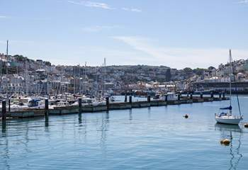 Looking back into Brixham from half way down the breakwater. You can just about make out Pebblestones in the top right of the picture.