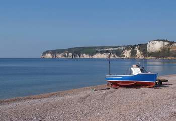 Seaton harbour and beach are within walking distance. The beach curves around the bay, with the Jurassic cliffs to each side.