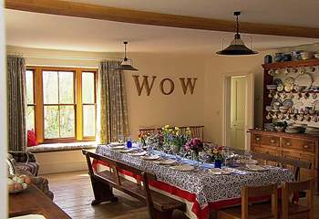 The 'WOW' factor in the large and spacious kitchen/dining-room.