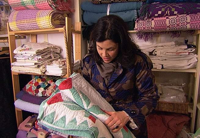 Kirstie enjoying choosing material for her lovely Devon bolthole.
