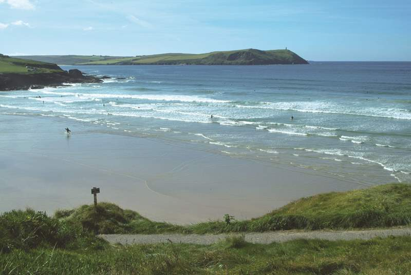 The beach at Polzeath is only a short drive.