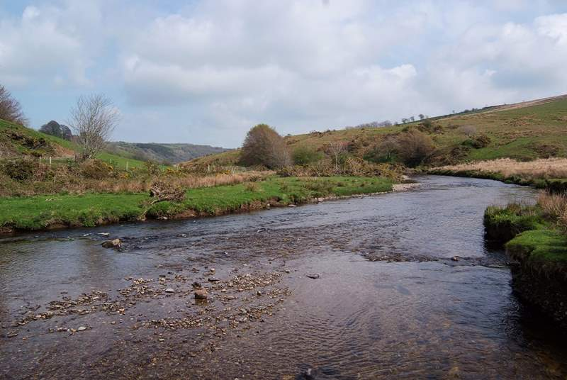 This is the lovely picnic spot at Landacre Bridge.  A great place for all the family with shallow water for paddling and open moorland to explore.