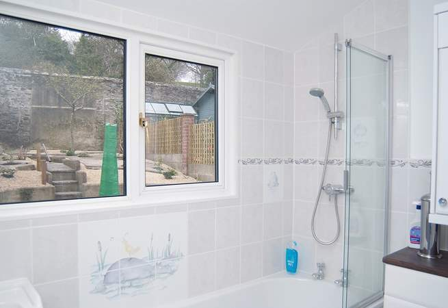 The modern bathroom (there is also a separate cloakroom next door).