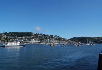 A view down river towards the sea with Kingswear in the background.