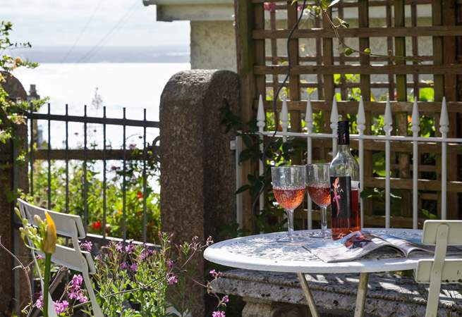 Enjoy a glass of wine and take in the lovely view of St Ives.