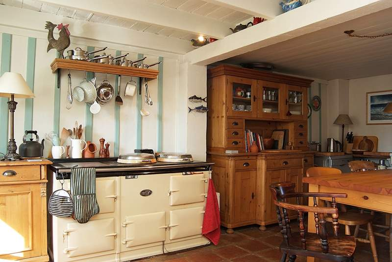 A double Aga warms the cottage.