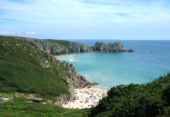 Porthcurno, a stunning beach and home to the open-air Minack Theatre.