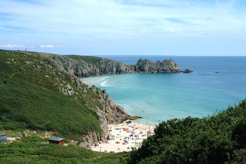 Porthcurno, a stunning beach and home to the open-air Minnack Theatre.