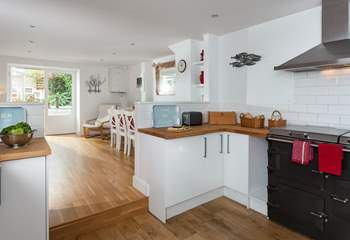 The kitchen-area, with it's Everhot range, leads through to the dining and second sitting areas.