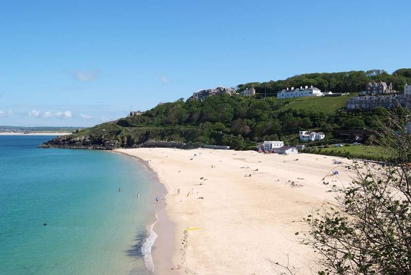 One of St Ives' beautiful golden beaches, Porthminster.