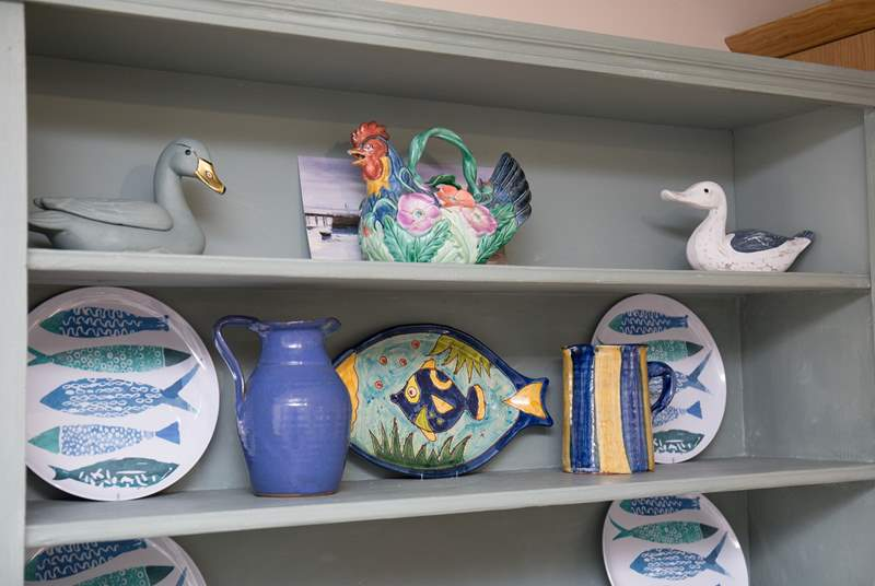 Striking china and pottery on the kitchen dresser.