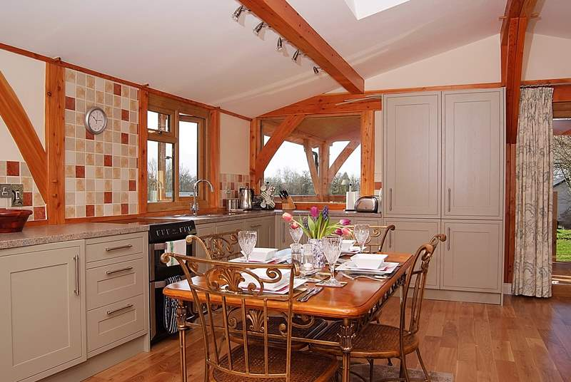 The spacious and light kitchen/dining-area in this lovely open plan property.