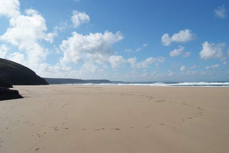 Looking from Chapel Porth towards Porthtowan at a very low tide.