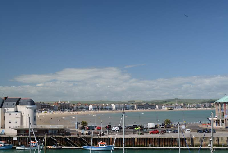 Weymouth bay has safe bathing and sandy beaches, a Punch and Judy show  visits in the summer months.