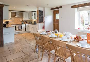 Very spacious open plan kitchen/dining-area.