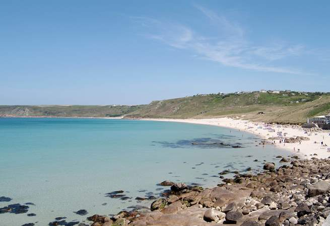 Lovely Sennen Cove is great for surfing.