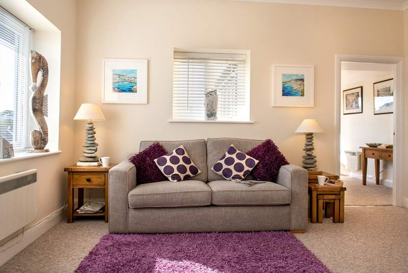 The comfortable interior of the apartment is beautifully furnished.