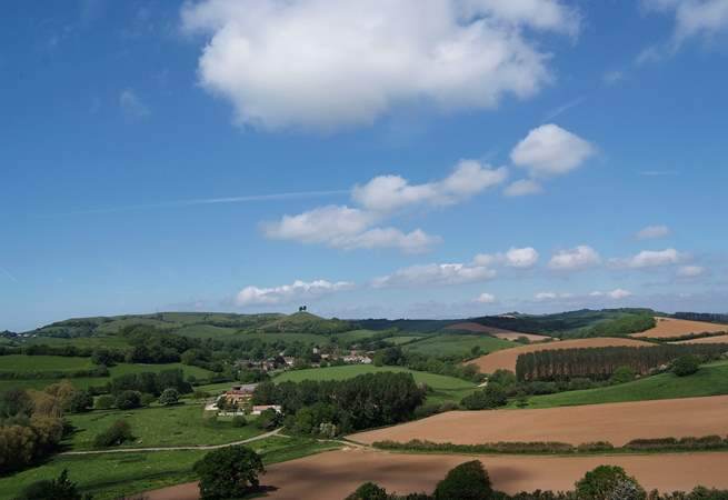 This panoramic view of the beautiful Dorset countryside is taken from Allington and Coopers Hill outside Bridport.