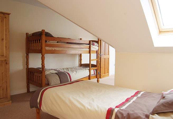 The children's bedroom (bedroom 3) includes bunk-beds and a separate single bed for versatility (although this property only accommodates six).