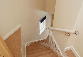 Looking down from the top of the stairs.