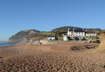 The lovely beach at Seatown (there is a great pub here too) beneath the stunning Golden Cap.