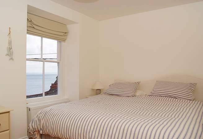 A comfortable 6' bed in the first floor double bedroom and fabulous sea views.