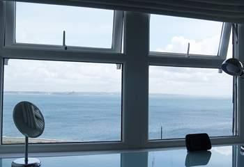 Sea views from the second floor bedroom work-area.