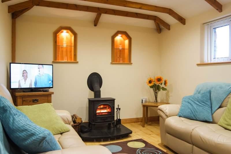 The little wood-burner keeps the cottage wonderfully warm.