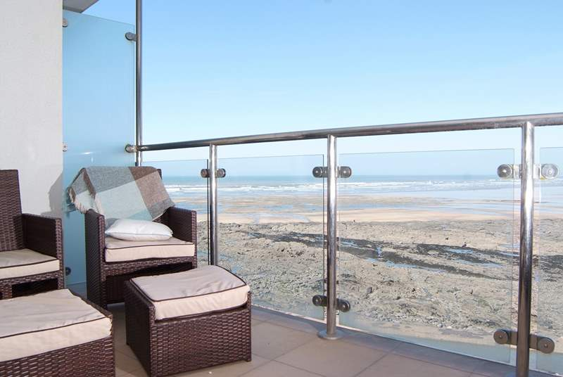 There is lovely balcony furniture with comfortable cushions - put your feet up and listen to the sound of the sea.