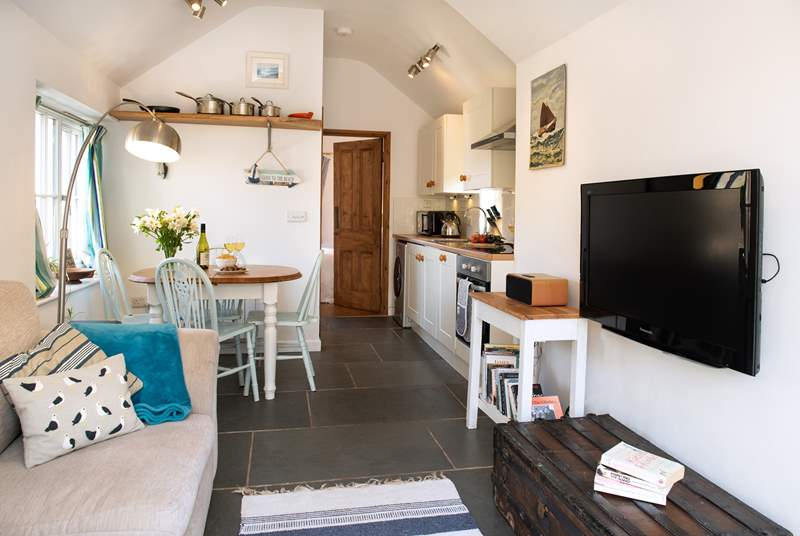 The open plan living space is lovely and cosy.