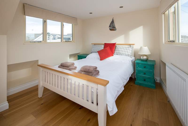 The double room on the top floor is beautifully light and airy.
