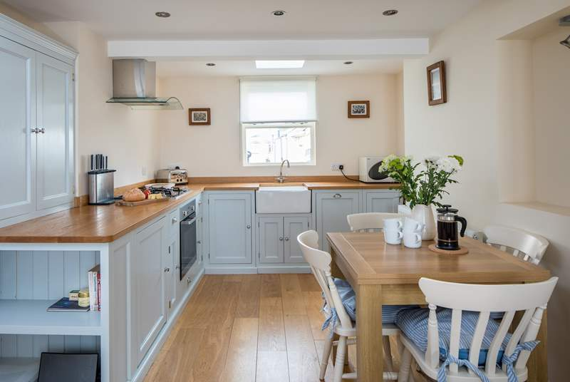 The well-equipped kitchen is a delight to whip up a feast for two or four.