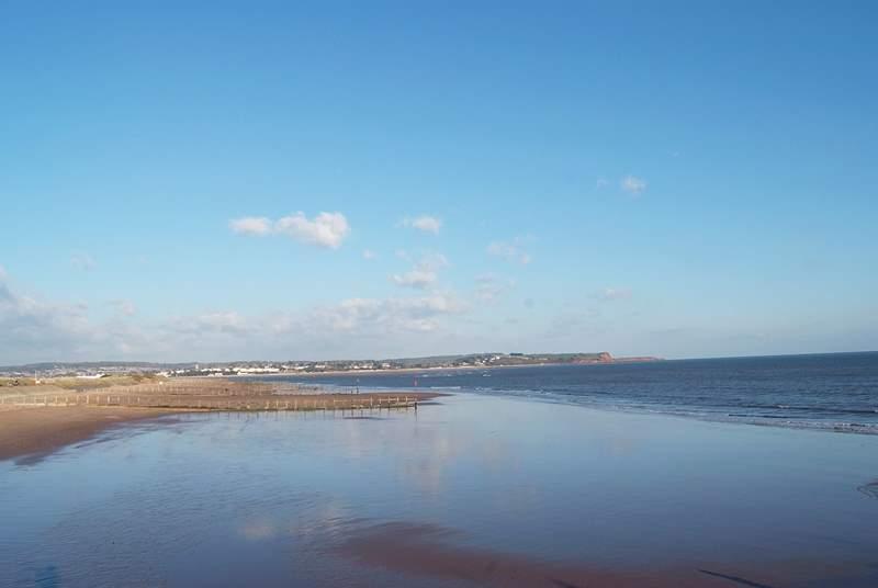 The nearby beach at Dawlish Warren.