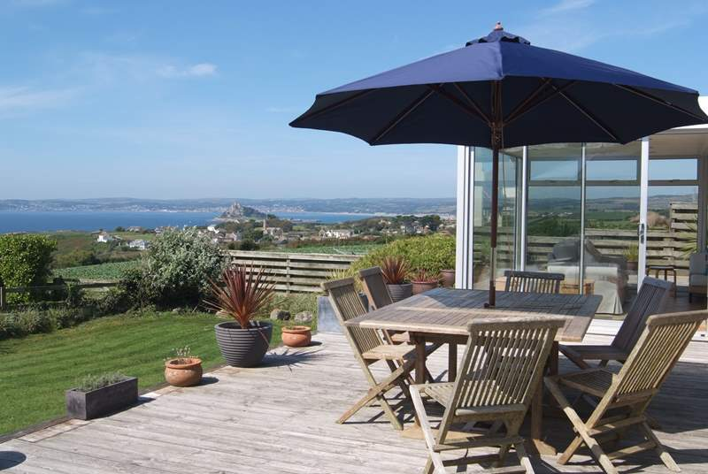 The terrace is peaceful with amazing views of St Michael's Mount and Mount's Bay.