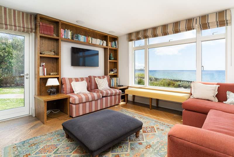 The living room has quite a special view out to sea.