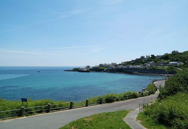 A view of pretty Coverack as you drive down to the village.