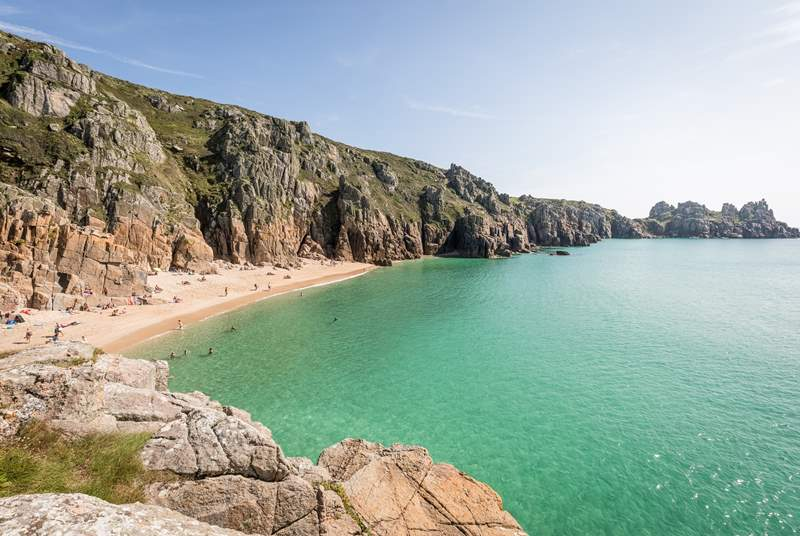 Porthcurno, a short drive away.