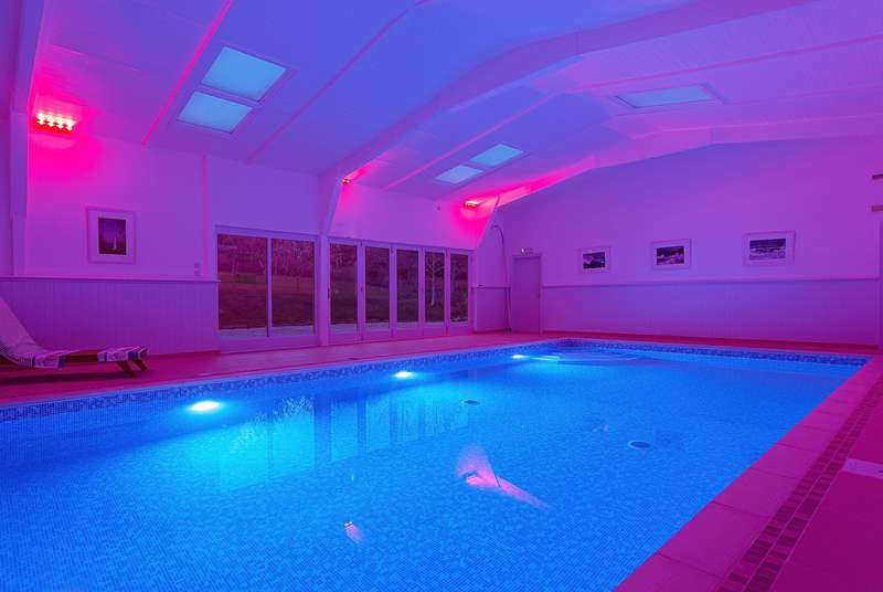 The 15m heated indoor pool has a colour-changing light system - fabulous at night!