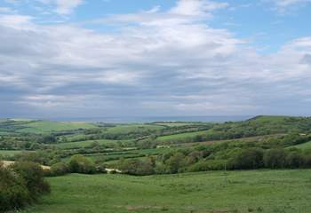This is the view towards the coast from the top of the lane leading to Sturthill Stable.