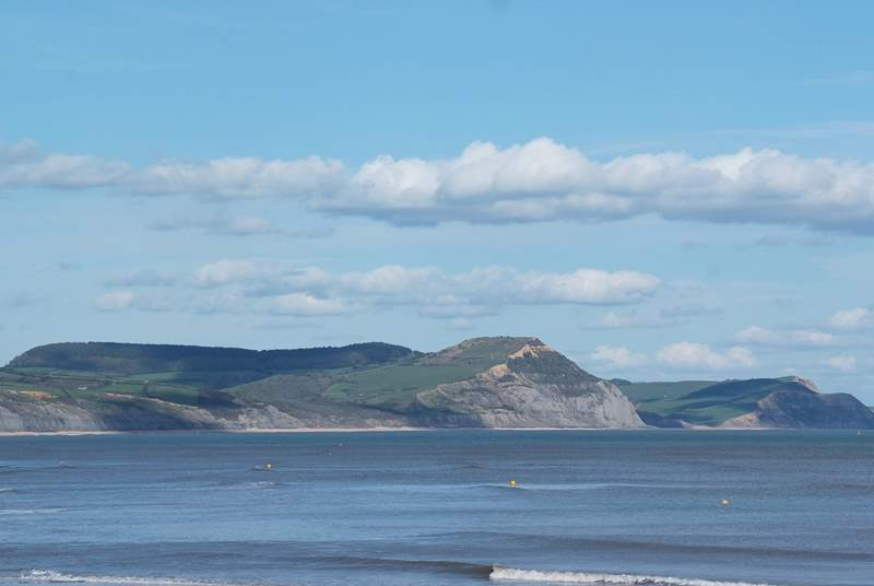 A view along the Jurassic Coast to Dorset's iconic Golden Cap.
