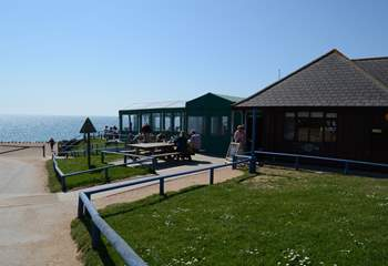 The Hive Beach Cafe at Burton Bradstock, serving locally caught seafood and delicious cakes.