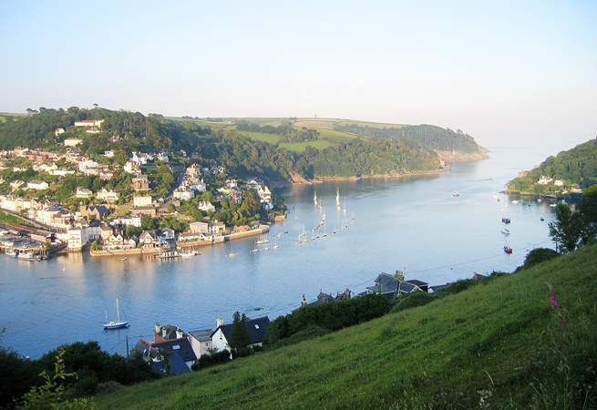 Taken from above Dartmouth this is a view of the River Dart as it flows out to sea.