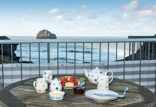 Enjoy the view from the terrace whilst indulging in a Cornish cream tea - go on treat yourself, you are on holiday!
