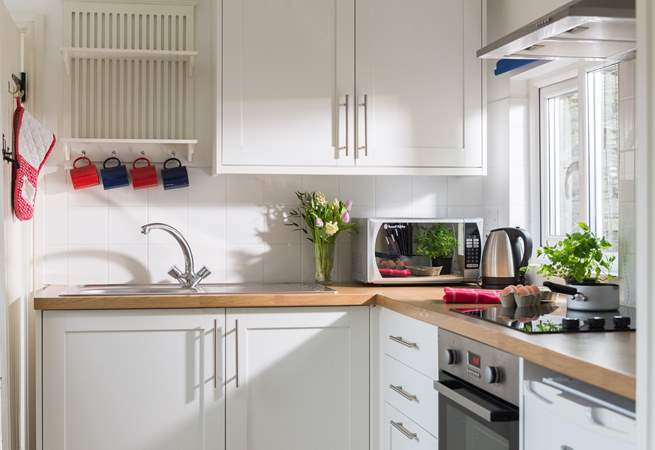 The small but well-equipped kitchen.
